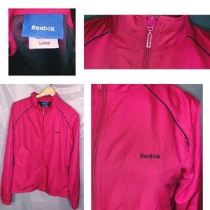 Reebok Windbreaker Zip Up Jacket Pink W/ Black